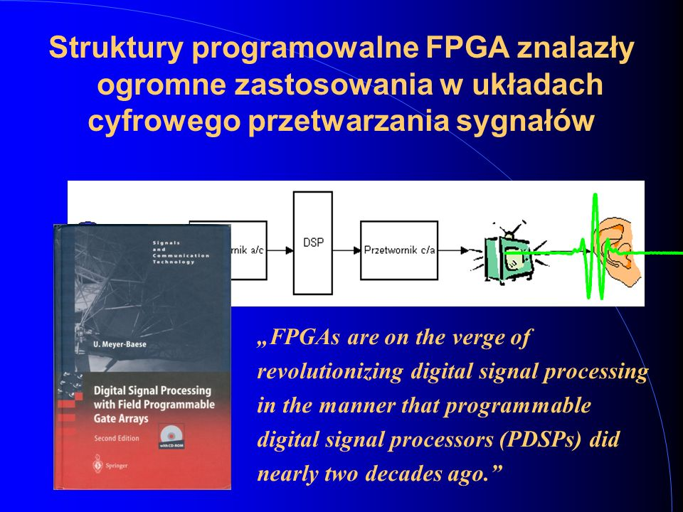 """Struktury programowalne FPGA znalazły ogromne zastosowania w układach cyfrowego przetwarzania sygnałów """"FPGAs are on the verge of revolutionizing digital signal processing in the manner that programmable digital signal processors (PDSPs) did nearly two decades ago."""