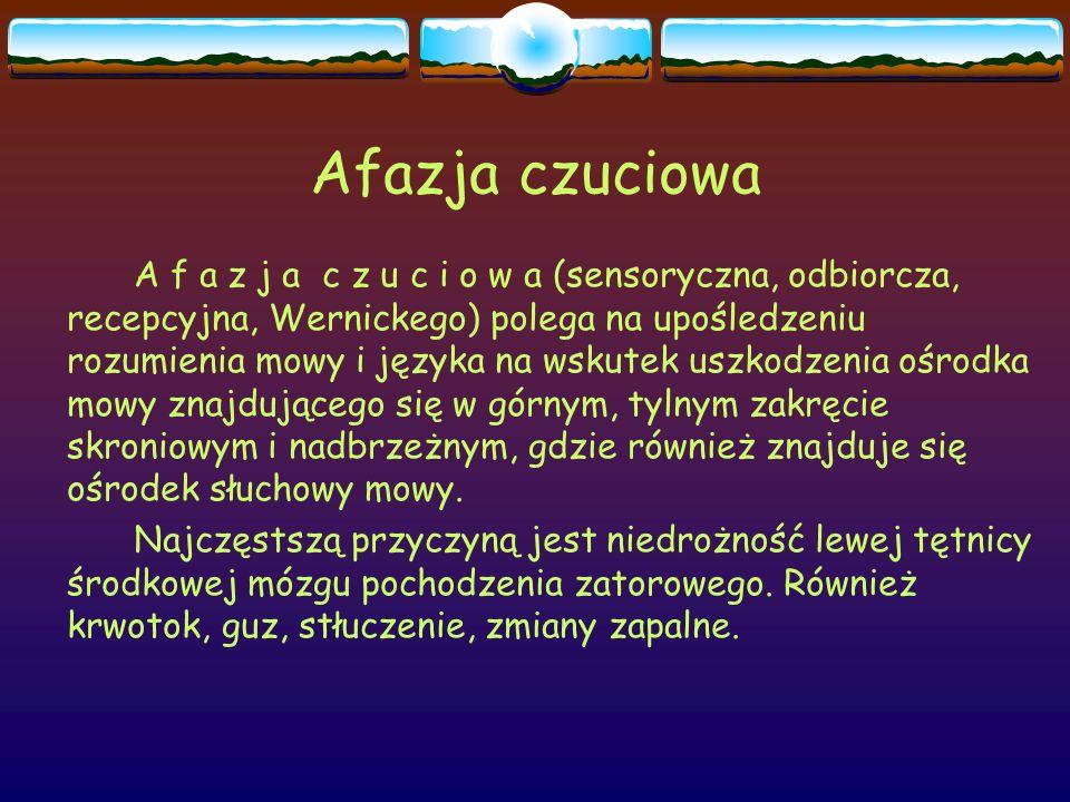 Afazja czuciowa A f a z j a c z u c i o w a (sensoryczna, odbiorcza, recepcyjna, Wernickego) polega na upośledzeniu rozumienia mowy i języka na wskute