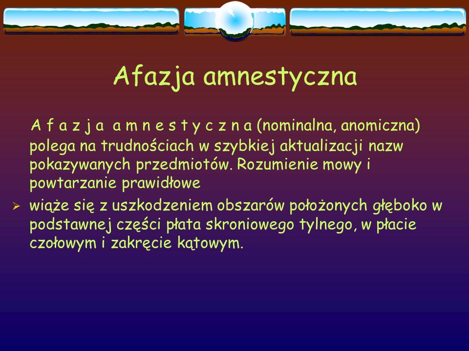 Afazja amnestyczna A f a z j a a m n e s t y c z n a (nominalna, anomiczna) polega na trudnościach w szybkiej aktualizacji nazw pokazywanych przedmiot