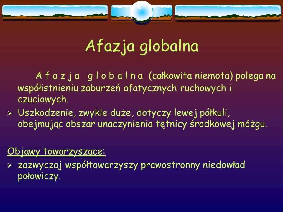 Afazja globalna A f a z j a g l o b a l n a (całkowita niemota) polega na współistnieniu zaburzeń afatycznych ruchowych i czuciowych.  Uszkodzenie, z