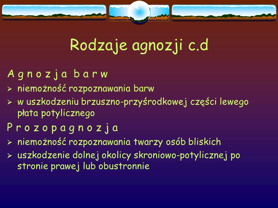 Rodzaje agnozji c.d A g n o z j a b a r w  niemożność rozpoznawania barw  w uszkodzeniu brzuszno-przyśrodkowej części lewego płata potylicznego P r