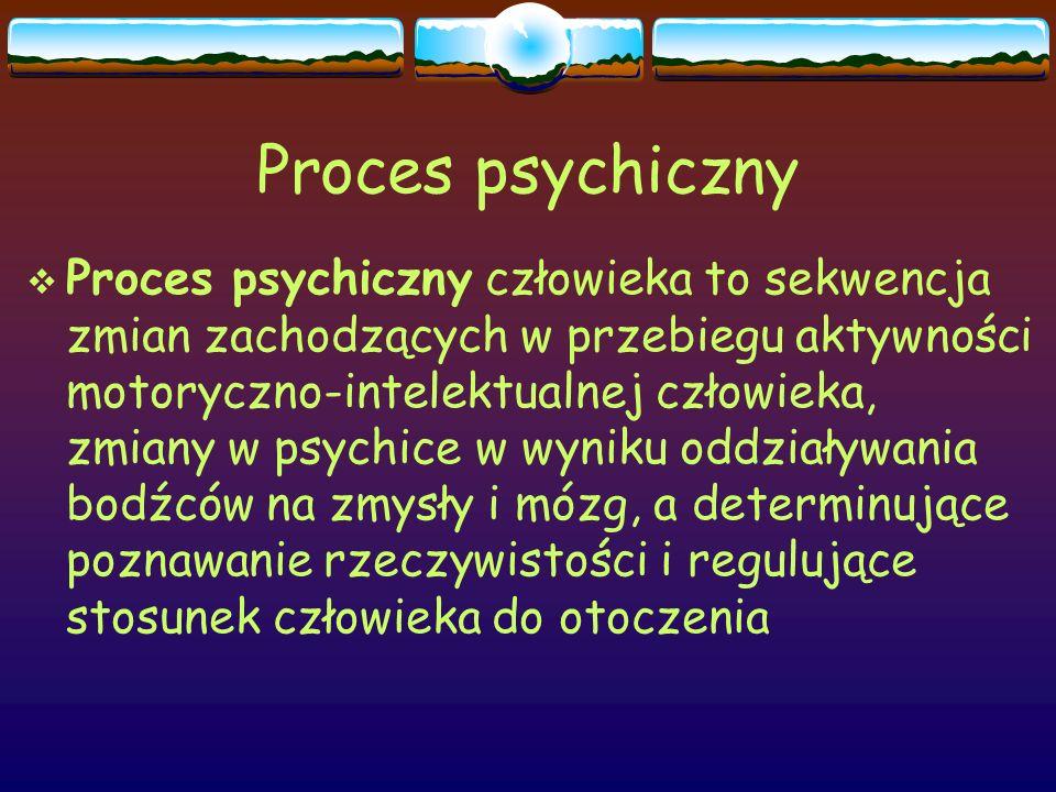 Proces psychiczny  Proces psychiczny człowieka to sekwencja zmian zachodzących w przebiegu aktywności motoryczno-intelektualnej człowieka, zmiany w p