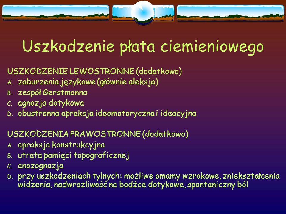 Uszkodzenie płata ciemieniowego USZKODZENIE LEWOSTRONNE (dodatkowo) A. zaburzenia językowe (głównie aleksja) B. zespół Gerstmanna C. agnozja dotykowa