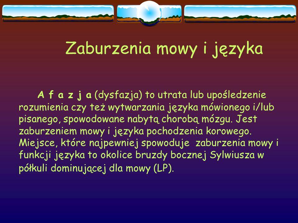Zaburzenia mowy i języka A f a z j a (dysfazja) to utrata lub upośledzenie rozumienia czy też wytwarzania języka mówionego i/lub pisanego, spowodowane