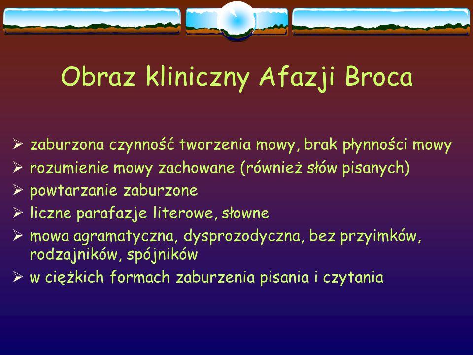 Obraz kliniczny Afazji Broca  zaburzona czynność tworzenia mowy, brak płynności mowy  rozumienie mowy zachowane (również słów pisanych)  powtarzani