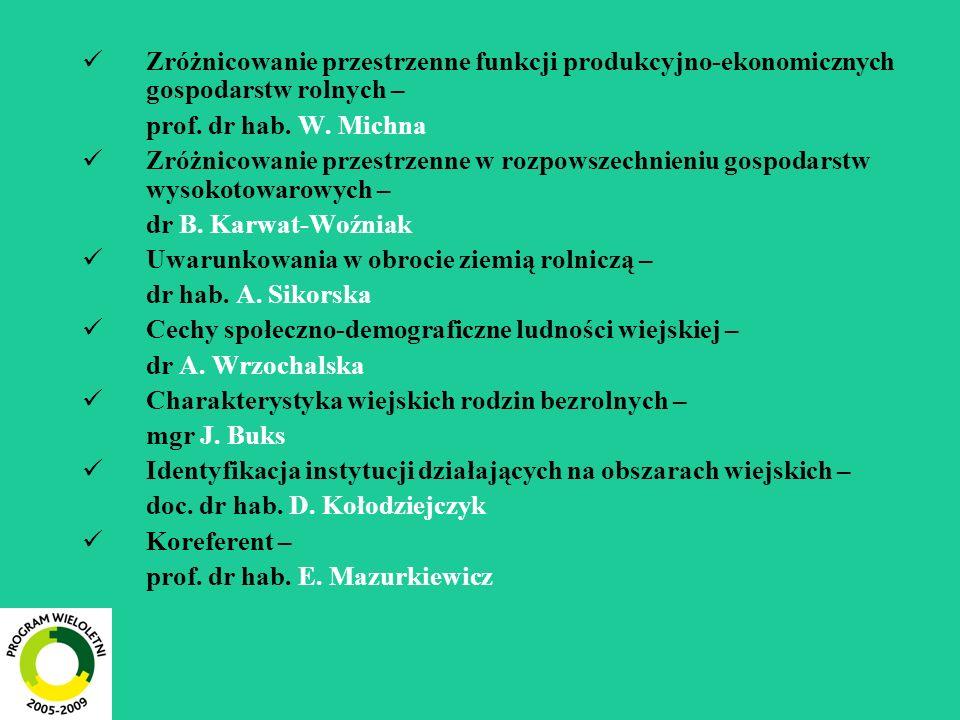 Zróżnicowanie przestrzenne funkcji produkcyjno-ekonomicznych gospodarstw rolnych – prof. dr hab. W. Michna Zróżnicowanie przestrzenne w rozpowszechnie