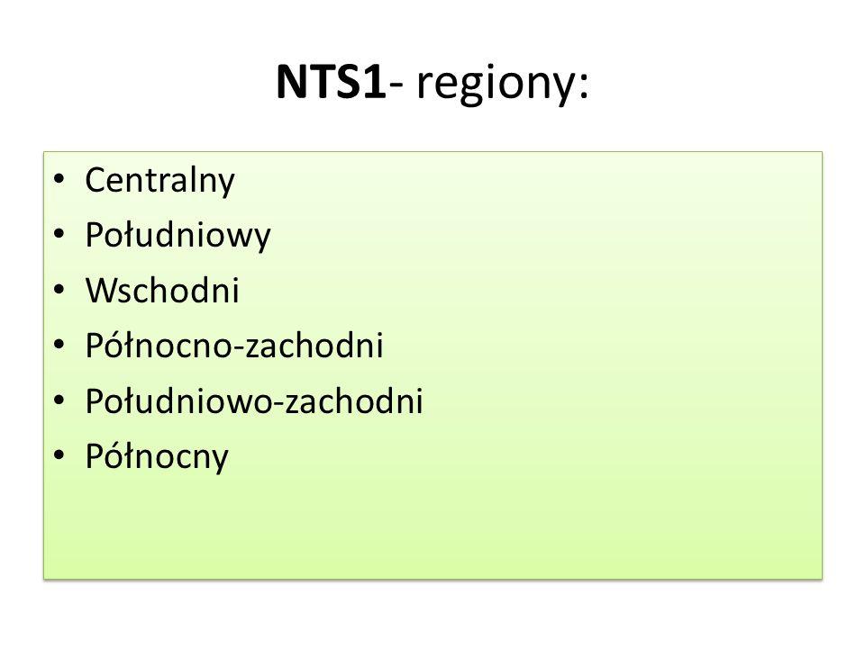 NTS1- regiony: Centralny Południowy Wschodni Północno-zachodni Południowo-zachodni Północny Centralny Południowy Wschodni Północno-zachodni Południowo
