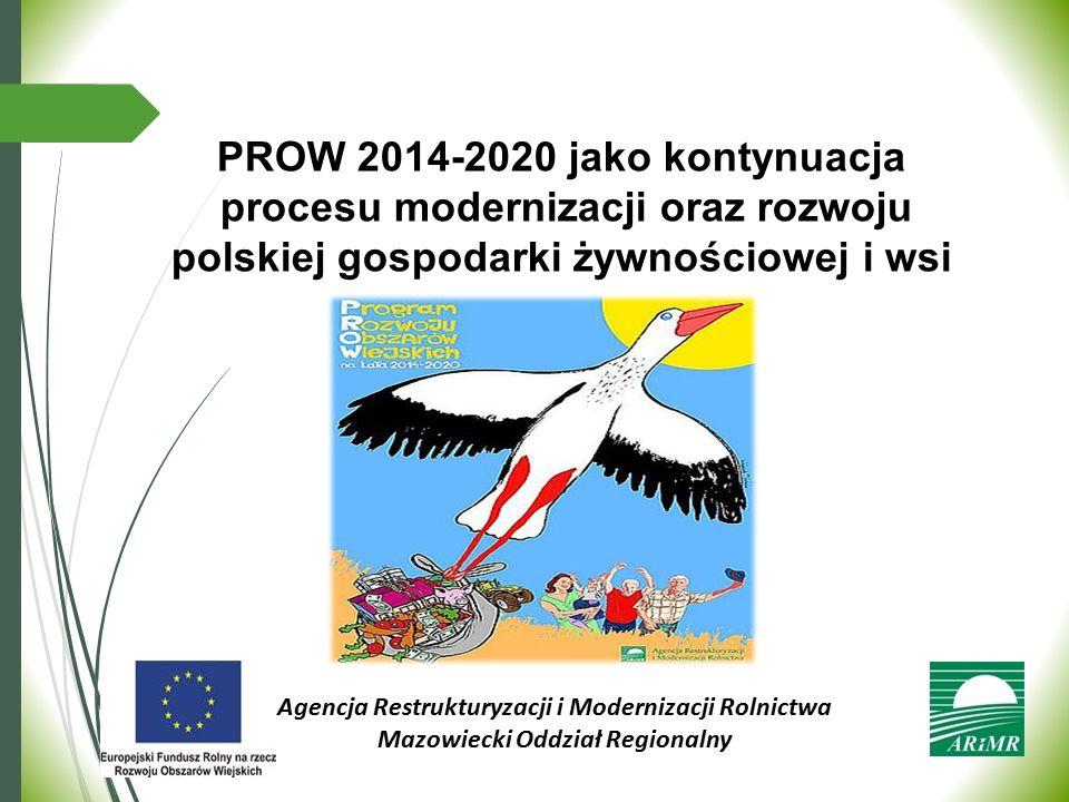 PROW 2014-2020 jako kontynuacja procesu modernizacji oraz rozwoju polskiej gospodarki żywnościowej i wsi Agencja Restrukturyzacji i Modernizacji Rolni