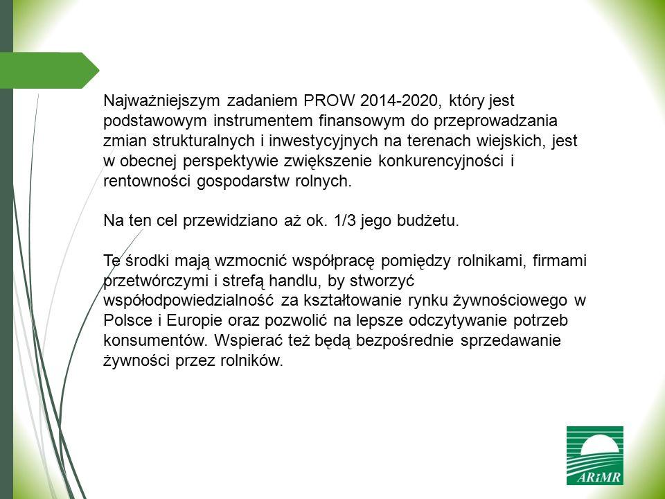 Najważniejszym zadaniem PROW 2014-2020, który jest podstawowym instrumentem finansowym do przeprowadzania zmian strukturalnych i inwestycyjnych na ter