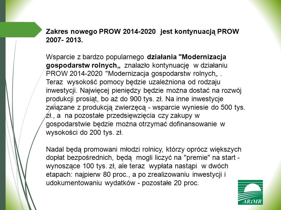 Zakres nowego PROW 2014-2020 jest kontynuacją PROW 2007- 2013. Wsparcie z bardzo popularnego działania
