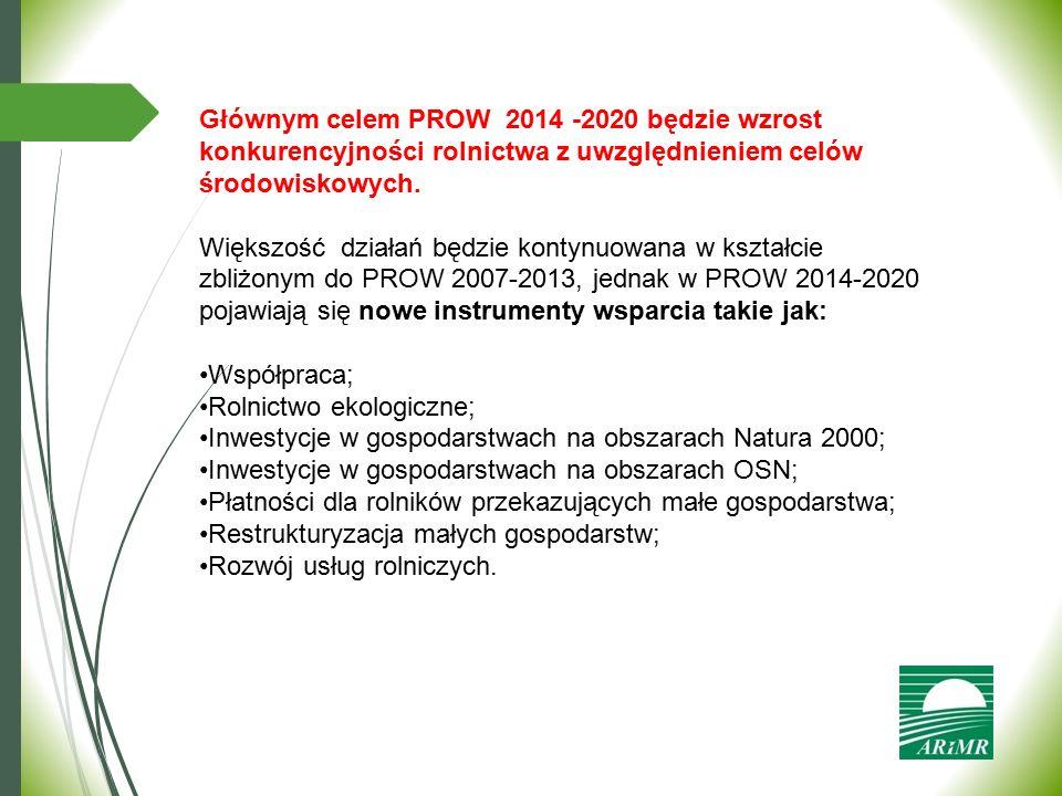 Głównym celem PROW 2014 -2020 będzie wzrost konkurencyjności rolnictwa z uwzględnieniem celów środowiskowych. Większość działań będzie kontynuowana w