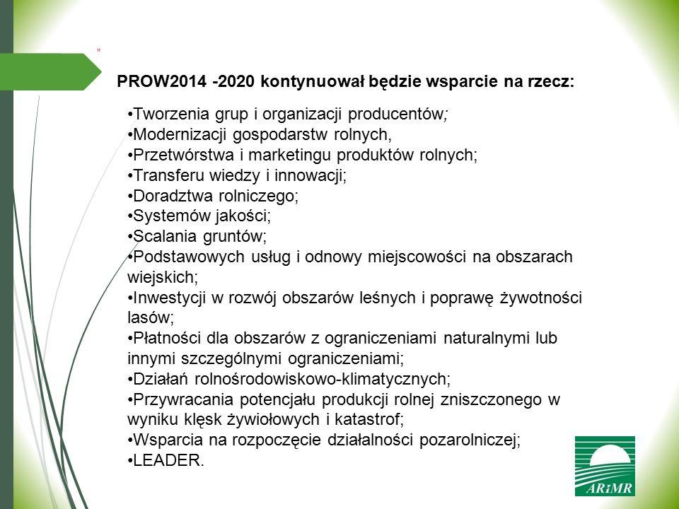 """"""" PROW2014 -2020 kontynuował będzie wsparcie na rzecz: Tworzenia grup i organizacji producentów; Modernizacji gospodarstw rolnych, Przetwórstwa i mark"""