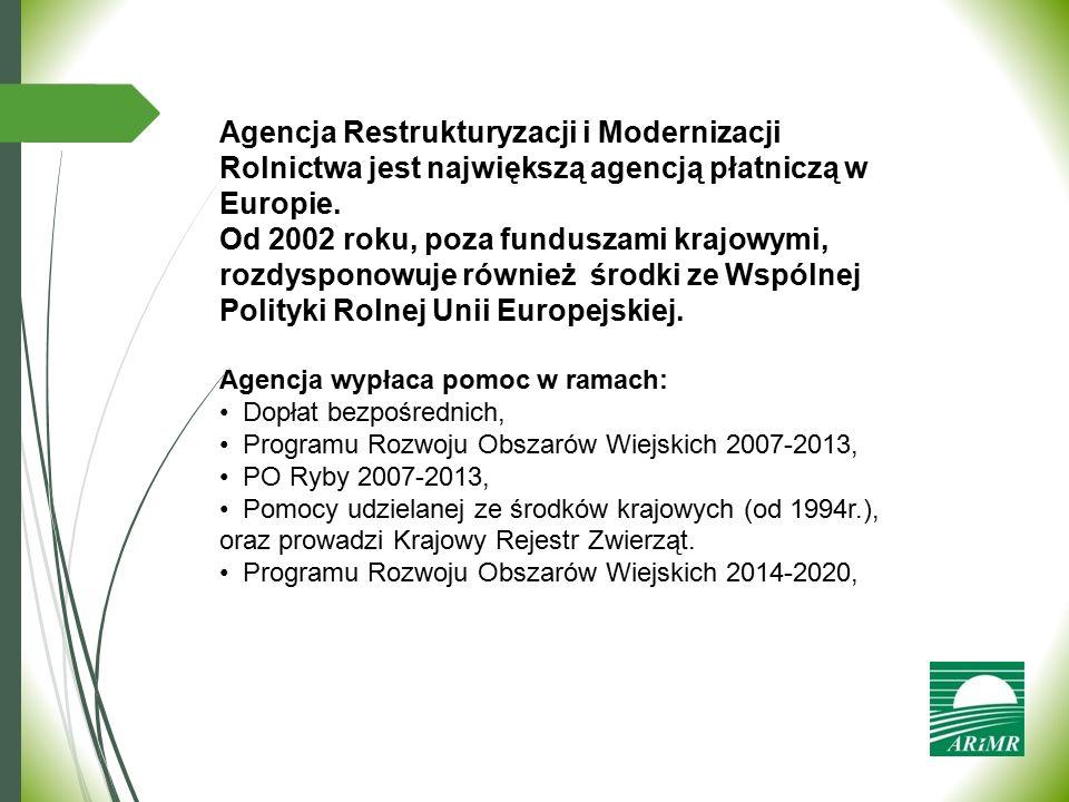Agencja Restrukturyzacji i Modernizacji Rolnictwa jest największą agencją płatniczą w Europie. Od 2002 roku, poza funduszami krajowymi, rozdysponowuje