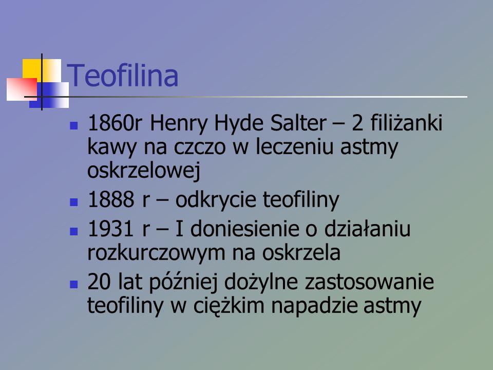 Teofilina 1860r Henry Hyde Salter – 2 filiżanki kawy na czczo w leczeniu astmy oskrzelowej 1888 r – odkrycie teofiliny 1931 r – I doniesienie o działaniu rozkurczowym na oskrzela 20 lat później dożylne zastosowanie teofiliny w ciężkim napadzie astmy