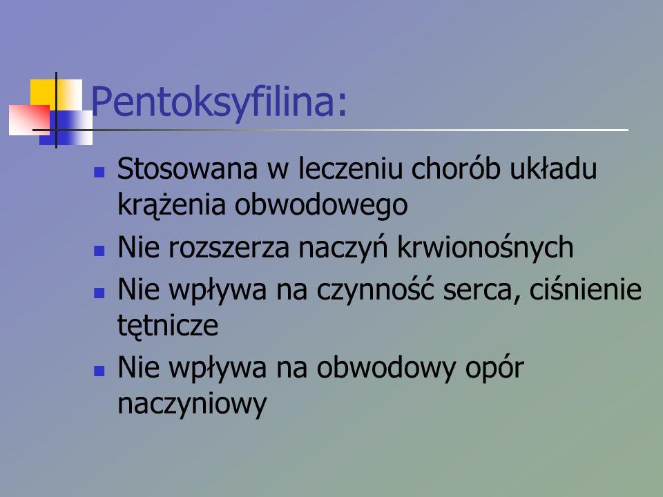 Pentoksyfilina: Stosowana w leczeniu chorób układu krążenia obwodowego Nie rozszerza naczyń krwionośnych Nie wpływa na czynność serca, ciśnienie tętnicze Nie wpływa na obwodowy opór naczyniowy