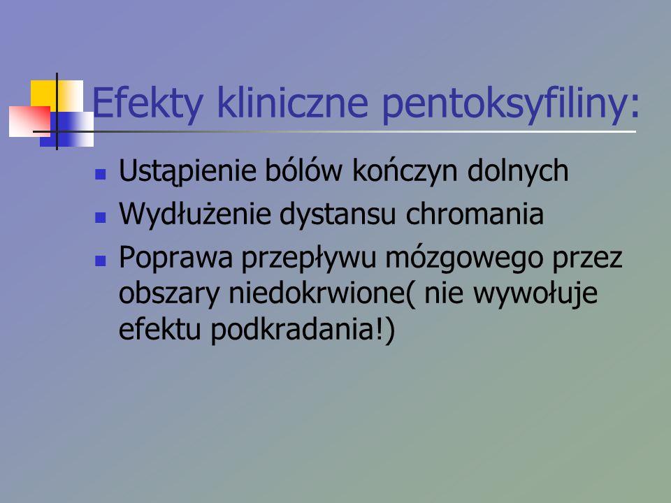 Efekty kliniczne pentoksyfiliny: Ustąpienie bólów kończyn dolnych Wydłużenie dystansu chromania Poprawa przepływu mózgowego przez obszary niedokrwione( nie wywołuje efektu podkradania!)