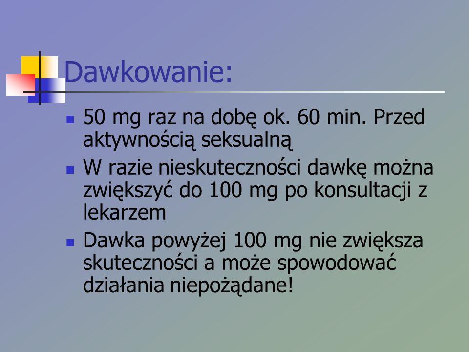 Dawkowanie: 50 mg raz na dobę ok. 60 min. Przed aktywnością seksualną W razie nieskuteczności dawkę można zwiększyć do 100 mg po konsultacji z lekarze