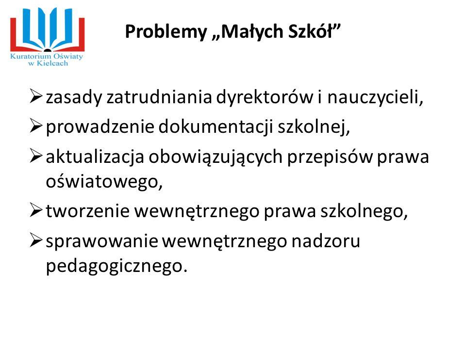 """Problemy """"Małych Szkół""""  zasady zatrudniania dyrektorów i nauczycieli,  prowadzenie dokumentacji szkolnej,  aktualizacja obowiązujących przepisów p"""