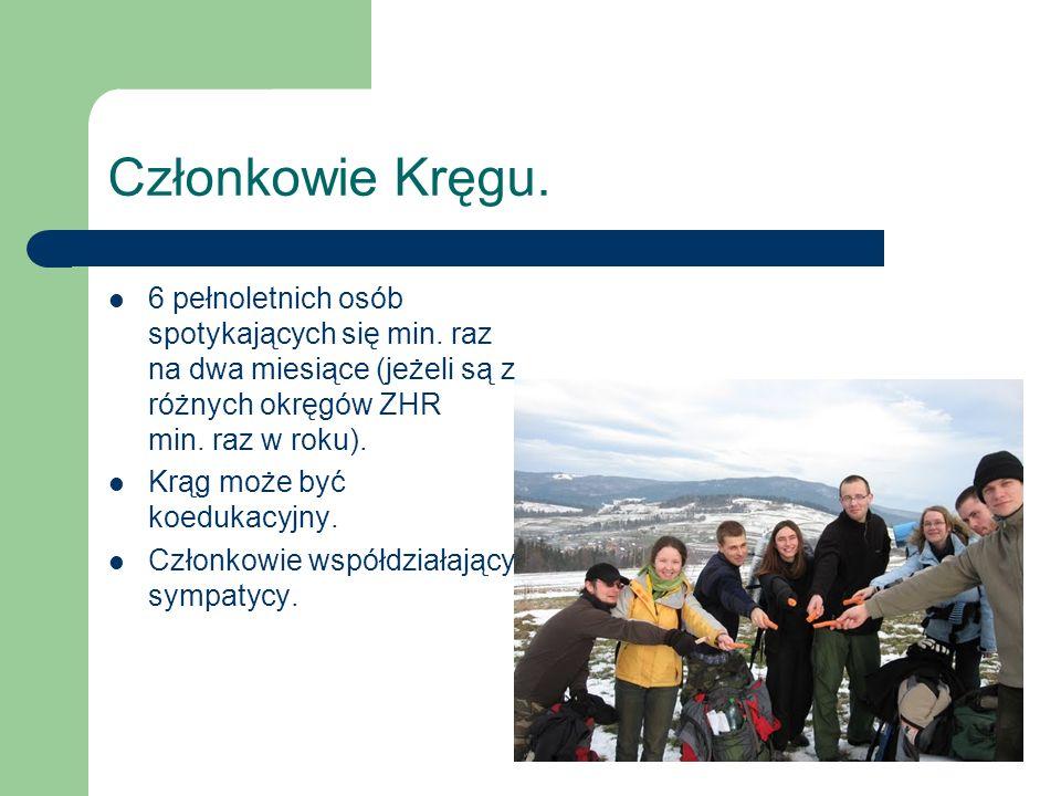 Członkowie Kręgu. 6 pełnoletnich osób spotykających się min. raz na dwa miesiące (jeżeli są z różnych okręgów ZHR min. raz w roku). Krąg może być koed