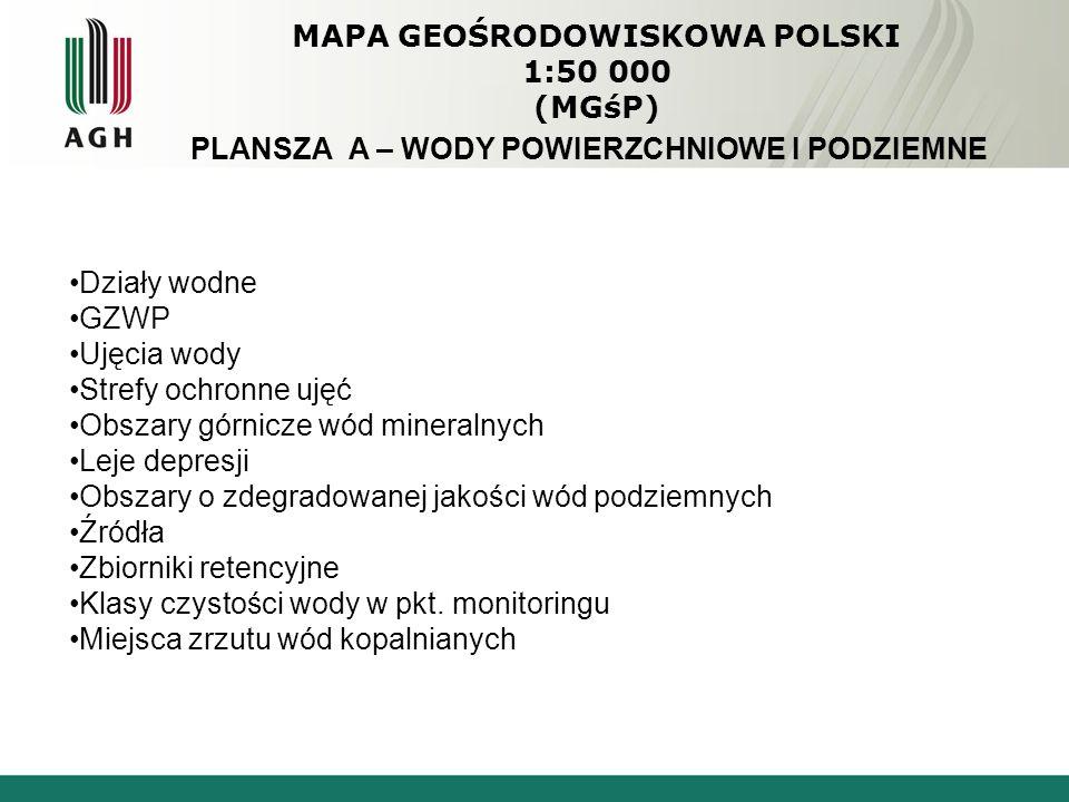 MAPA GEOŚRODOWISKOWA POLSKI 1:50 000 (MGśP) PLANSZA A – WODY POWIERZCHNIOWE I PODZIEMNE Działy wodne GZWP Ujęcia wody Strefy ochronne ujęć Obszary górnicze wód mineralnych Leje depresji Obszary o zdegradowanej jakości wód podziemnych Źródła Zbiorniki retencyjne Klasy czystości wody w pkt.