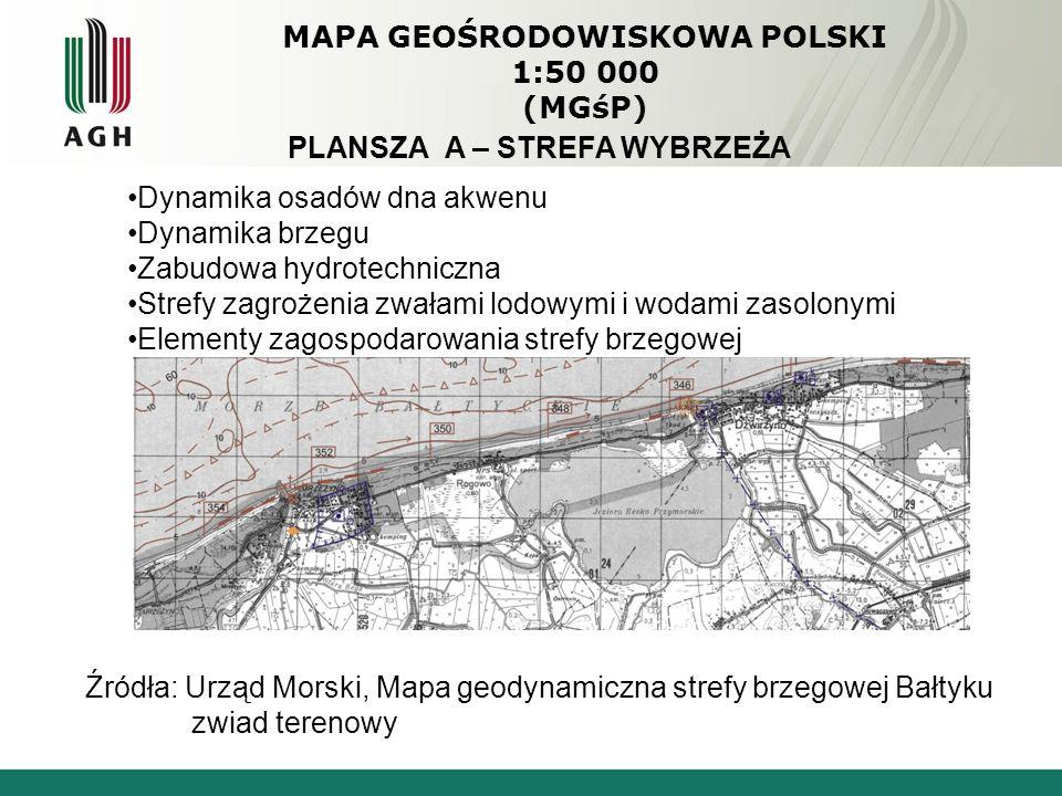 MAPA GEOŚRODOWISKOWA POLSKI 1:50 000 (MGśP) PLANSZA A – STREFA WYBRZEŻA Dynamika osadów dna akwenu Dynamika brzegu Zabudowa hydrotechniczna Strefy zagrożenia zwałami lodowymi i wodami zasolonymi Elementy zagospodarowania strefy brzegowej Źródła: Urząd Morski, Mapa geodynamiczna strefy brzegowej Bałtyku zwiad terenowy