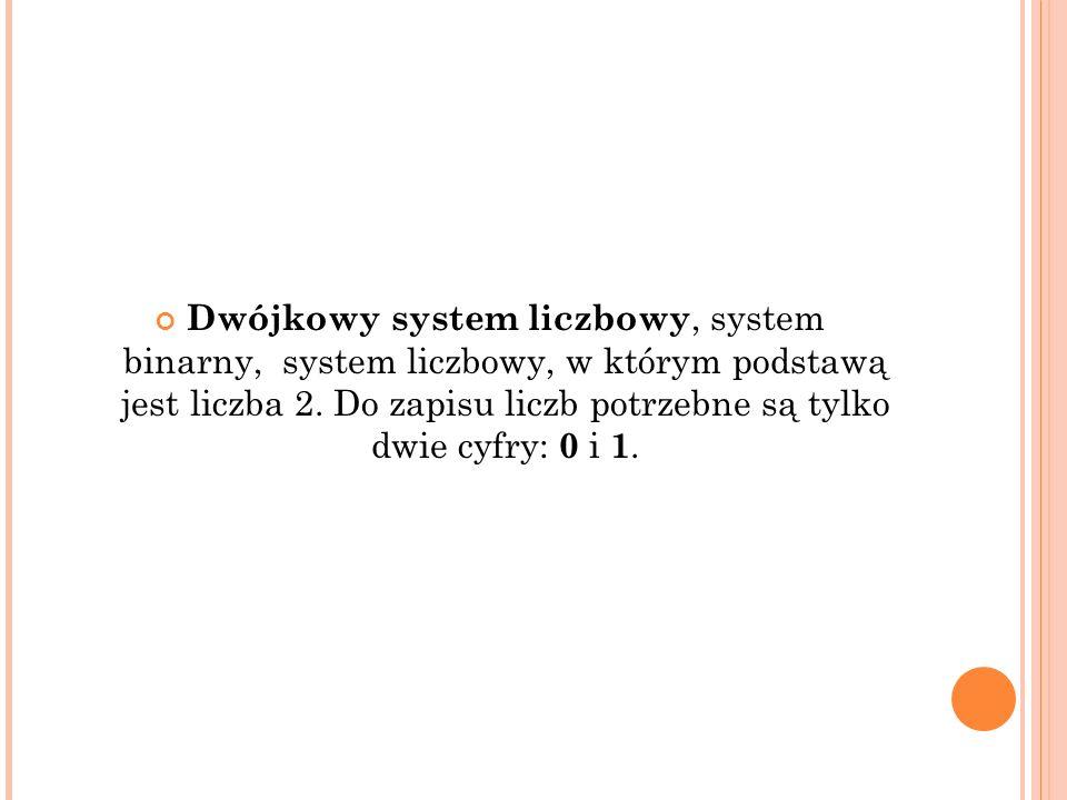 Dwójkowy system liczbowy, system binarny, system liczbowy, w którym podstawą jest liczba 2. Do zapisu liczb potrzebne są tylko dwie cyfry: 0 i 1.