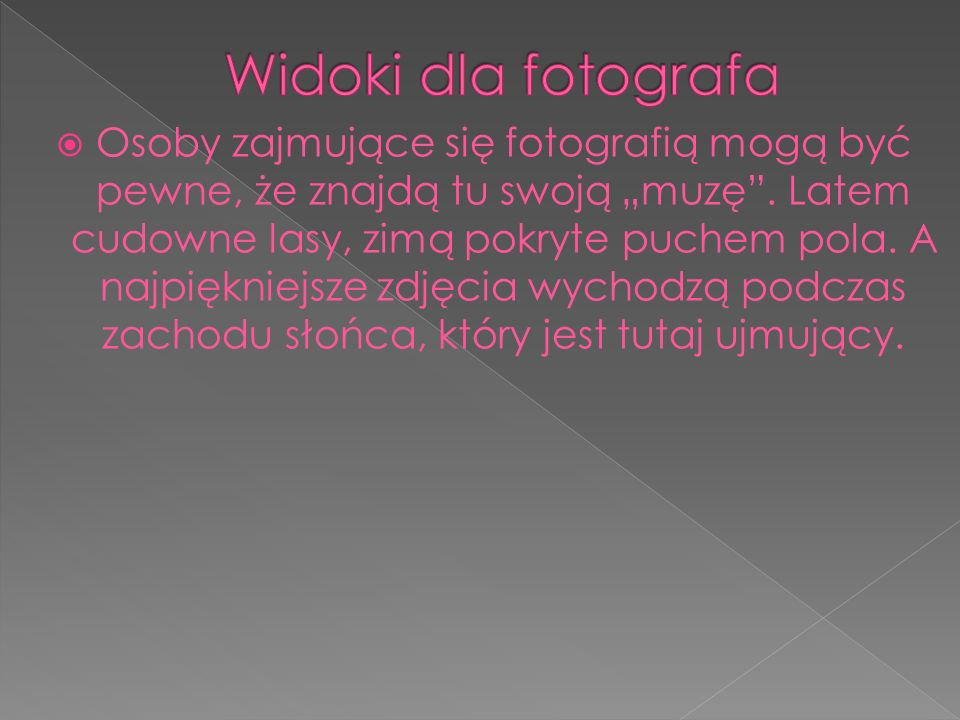 """ Osoby zajmujące się fotografią mogą być pewne, że znajdą tu swoją """"muzę ."""
