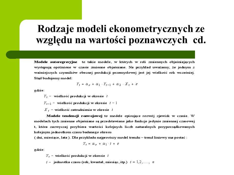 Rodzaje modeli ekonometrycznych ze względu na wartości poznawczych cd.