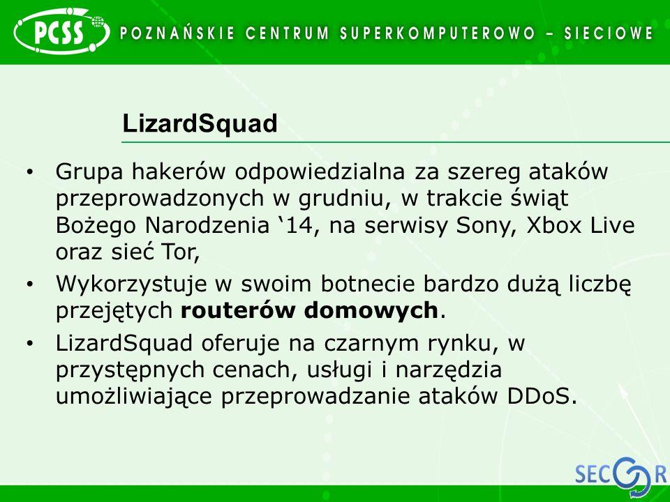 LizardSquad Grupa hakerów odpowiedzialna za szereg ataków przeprowadzonych w grudniu, w trakcie świąt Bożego Narodzenia '14, na serwisy Sony, Xbox Liv