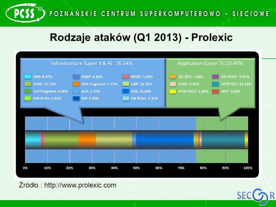 Rodzaje ataków (Q1 2013) - Prolexic Źródło : http://www.prolexic.com
