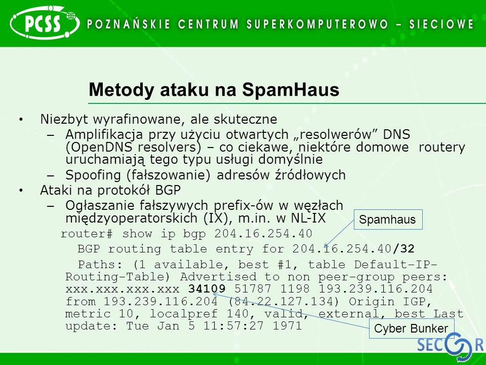 """Metody ataku na SpamHaus Niezbyt wyrafinowane, ale skuteczne – Amplifikacja przy użyciu otwartych """"resolwerów"""" DNS (OpenDNS resolvers) – co ciekawe, n"""