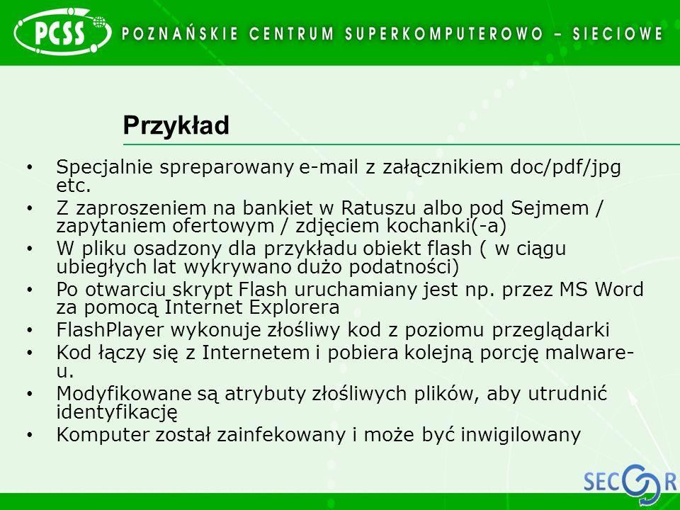 Przykład Specjalnie spreparowany e-mail z załącznikiem doc/pdf/jpg etc. Z zaproszeniem na bankiet w Ratuszu albo pod Sejmem / zapytaniem ofertowym / z