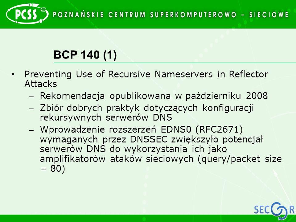 BCP 140 (1) Preventing Use of Recursive Nameservers in Reflector Attacks – Rekomendacja opublikowana w październiku 2008 – Zbiór dobrych praktyk dotyc