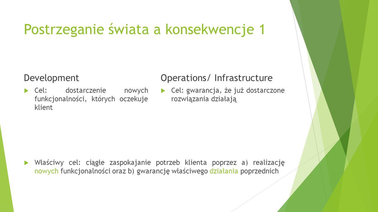 Postrzeganie świata a konsekwencje 1 Development  Cel: dostarczenie nowych funkcjonalności, których oczekuje klient  Cel: gwarancja, że już dostarczone rozwiązania działają  Właściwy cel: ciągłe zaspokajanie potrzeb klienta poprzez a) realizację nowych funkcjonalności oraz b) gwarancję właściwego działania poprzednich Operations/ Infrastructure