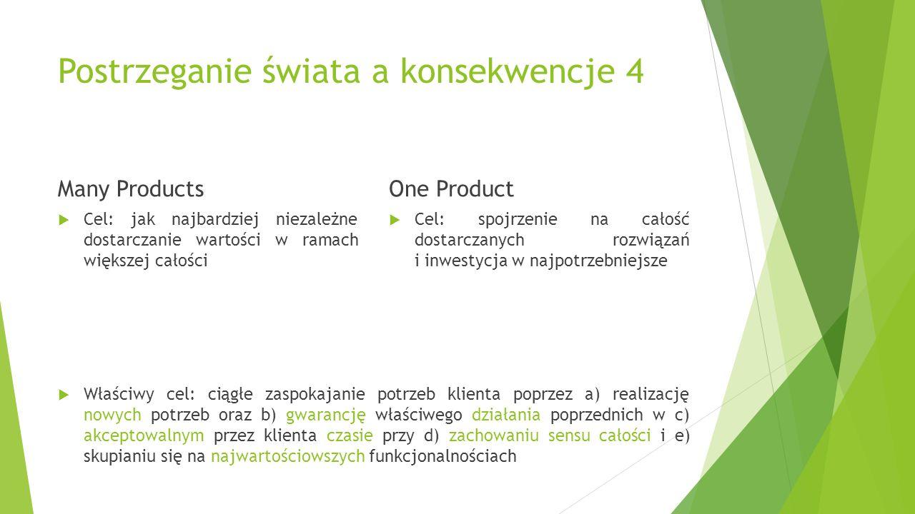 Postrzeganie świata a konsekwencje 4 Many Products  Cel: jak najbardziej niezależne dostarczanie wartości w ramach większej całości One Product  Cel: spojrzenie na całość dostarczanych rozwiązań i inwestycja w najpotrzebniejsze  Właściwy cel: ciągłe zaspokajanie potrzeb klienta poprzez a) realizację nowych potrzeb oraz b) gwarancję właściwego działania poprzednich w c) akceptowalnym przez klienta czasie przy d) zachowaniu sensu całości i e) skupianiu się na najwartościowszych funkcjonalnościach