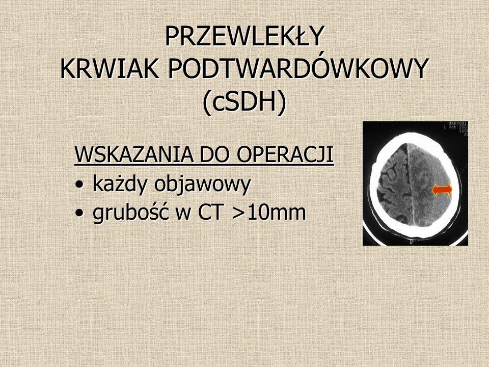 WSKAZANIA DO OPERACJI każdy objawowykażdy objawowy grubość w CT >10mmgrubość w CT >10mm PRZEWLEKŁY KRWIAK PODTWARDÓWKOWY (cSDH)