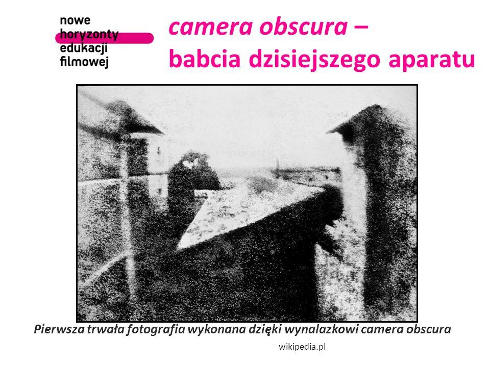 camera obscura – babcia dzisiejszego aparatu Pierwsza trwała fotografia wykonana dzięki wynalazkowi camera obscura wikipedia.pl