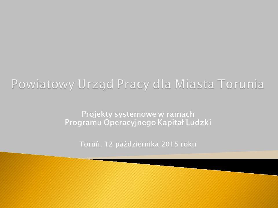 Projekty systemowe w ramach Programu Operacyjnego Kapitał Ludzki Toruń, 12 października 2015 roku