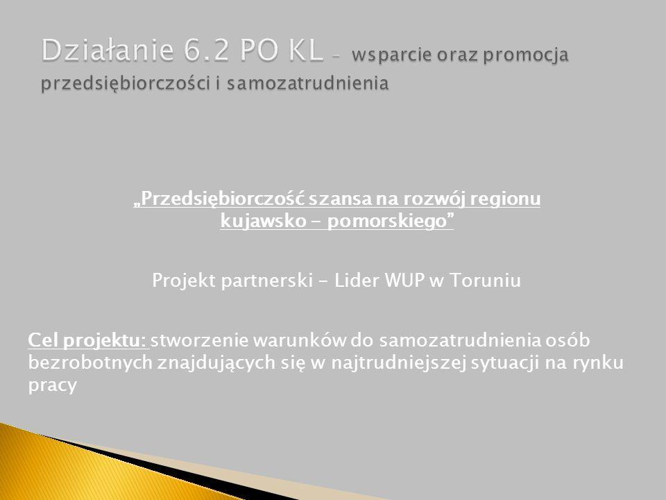 """""""Przedsiębiorczość szansa na rozwój regionu kujawsko - pomorskiego Projekt partnerski - Lider WUP w Toruniu Cel projektu: stworzenie warunków do samozatrudnienia osób bezrobotnych znajdujących się w najtrudniejszej sytuacji na rynku pracy"""