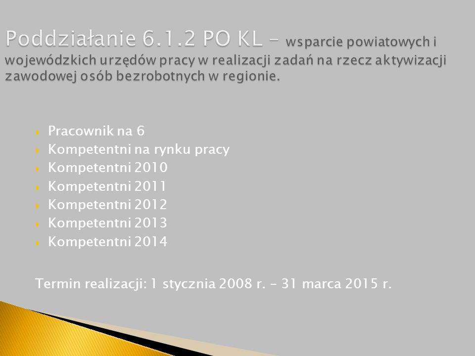  Pracownik na 6  Kompetentni na rynku pracy  Kompetentni 2010  Kompetentni 2011  Kompetentni 2012  Kompetentni 2013  Kompetentni 2014 Termin realizacji: 1 stycznia 2008 r.
