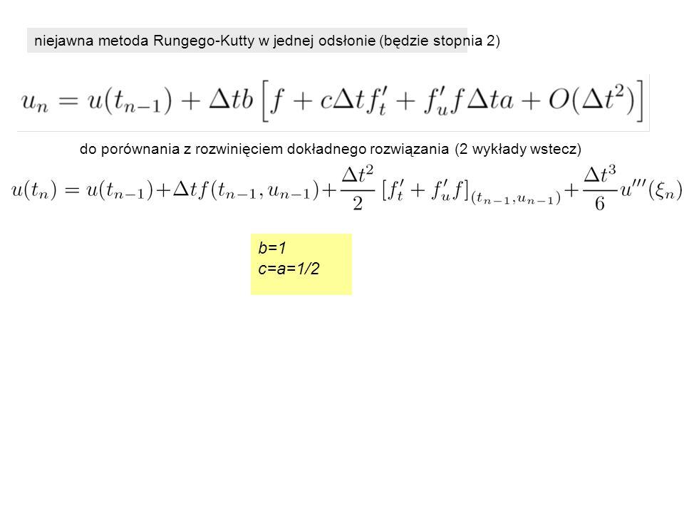niejawna metoda Rungego-Kutty w jednej odsłonie (będzie stopnia 2) b=1 c=a=1/2 do porównania z rozwinięciem dokładnego rozwiązania (2 wykłady wstecz)