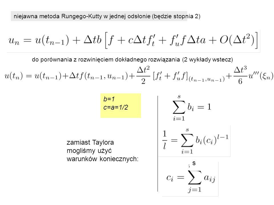 niejawna metoda Rungego-Kutty w jednej odsłonie (będzie stopnia 2) b=1 c=a=1/2 do porównania z rozwinięciem dokładnego rozwiązania (2 wykłady wstecz) zamiast Taylora mogliśmy użyć warunków koniecznych: s