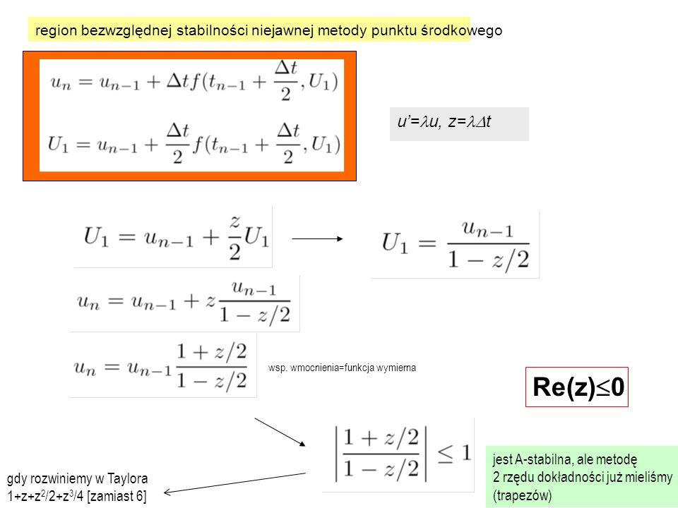 region bezwzględnej stabilności niejawnej metody punktu środkowego u'= u, z=  t Re(z)  0 jest A-stabilna, ale metodę 2 rzędu dokładności już mieliśmy (trapezów) gdy rozwiniemy w Taylora 1+z+z 2 /2+z 3 /4 [zamiast 6] wsp.