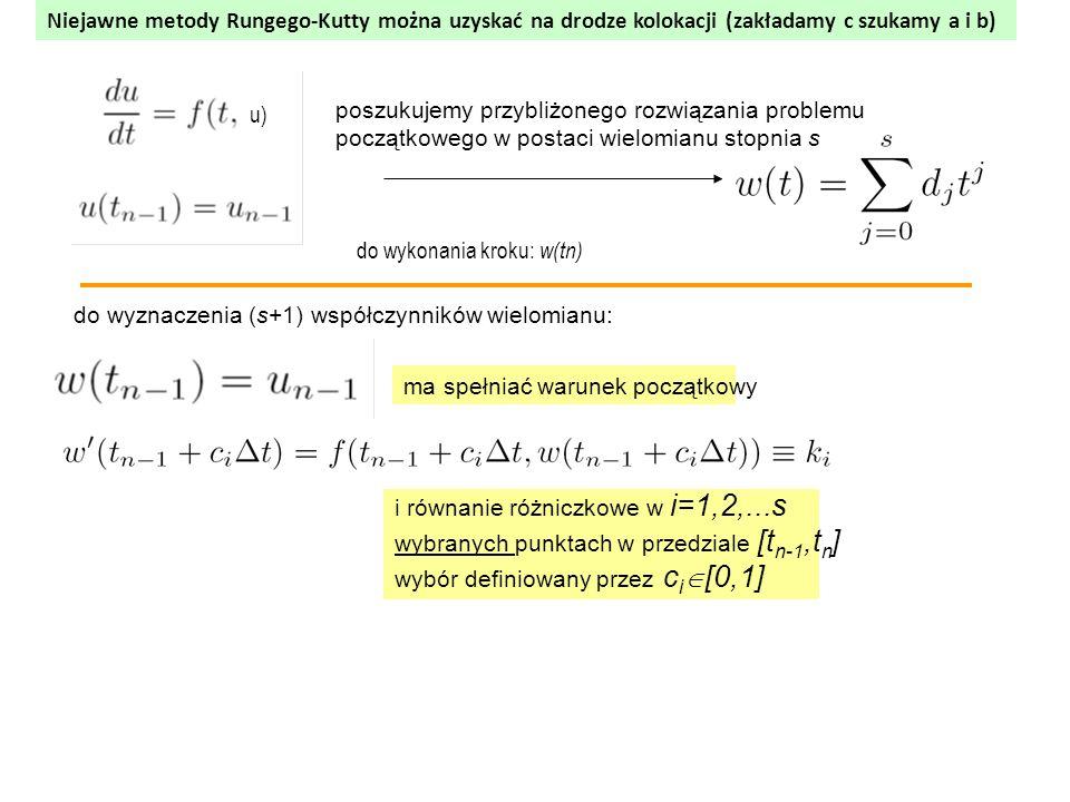 poszukujemy przybliżonego rozwiązania problemu początkowego w postaci wielomianu stopnia s do wyznaczenia (s+1) współczynników wielomianu: ma spełniać warunek początkowy i równanie różniczkowe w i=1,2,...s wybranych punktach w przedziale [t n-1,t n ] wybór definiowany przez c i  [0,1] u) do wykonania kroku: w(tn) Niejawne metody Rungego-Kutty można uzyskać na drodze kolokacji (zakładamy c szukamy a i b)