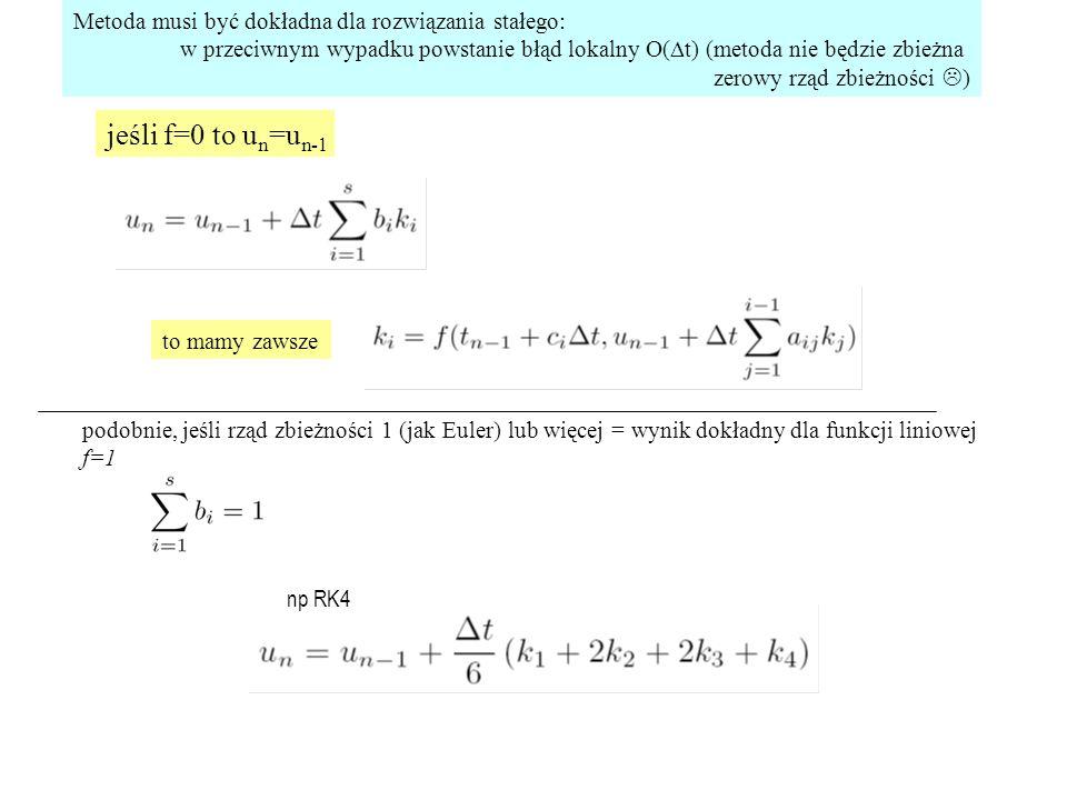 """DIRK: macierz A jest dolnoprzekątniowa (diagonally implicit RK) SDIRK:wszystkie wyrazy na diagonali są identyczne (singly diagonally implicit...) metody DIRK: iteracja Newtona (układ równań) rozwiązywany blokowo metody SDIRK: dodatkowo pojedyncza faktoryzacja macierzy m na m (nie sm na sm) [dokładność najwyżej s+1 [zamiast maksymalnej (2s)] ale tania iteracja Newtona] wtedy macierz układu równań –F = M  U pojedynczej iteracji Newtona: zamiast faktoryzacji macierzy sm na sm (złożoność [sm] 3 ) : 1)faktoryzujemy tylko jedną macierze m na m : blok diagonalny [złożoność [m] 3 ] dla s=4: 64 x szybciej 2)rozwiązujemy równanie m na m na DU 1 z pierwszego """"wiersza blokowego i przechodzimy do drugiego gdzie DU 1 wykorzystana do złożenia prawej strony równania na DU 2 itd.."""