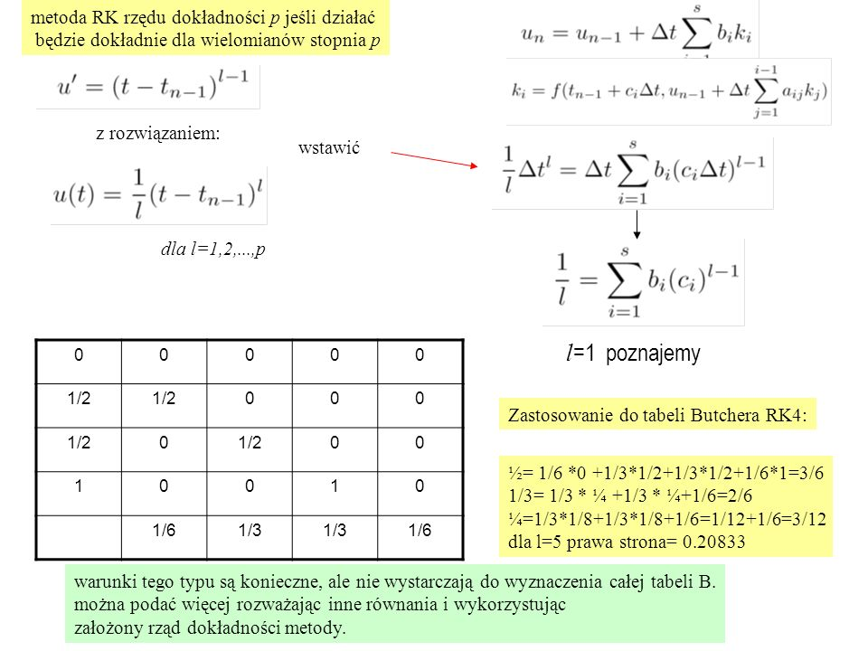 region bezwzględnej stabilności dla ogólnej niejawnej metody RK u'= u, z=  t dla metod niejawnych: nie można obciąć rozwinięcia Taylora, bo A pełna współczynnik wzmocnienia nie jest wielomianem, okazuje się, że jest funkcją wymierną  R(z)   1 może być nieograniczony niejawna 1 stopniowa
