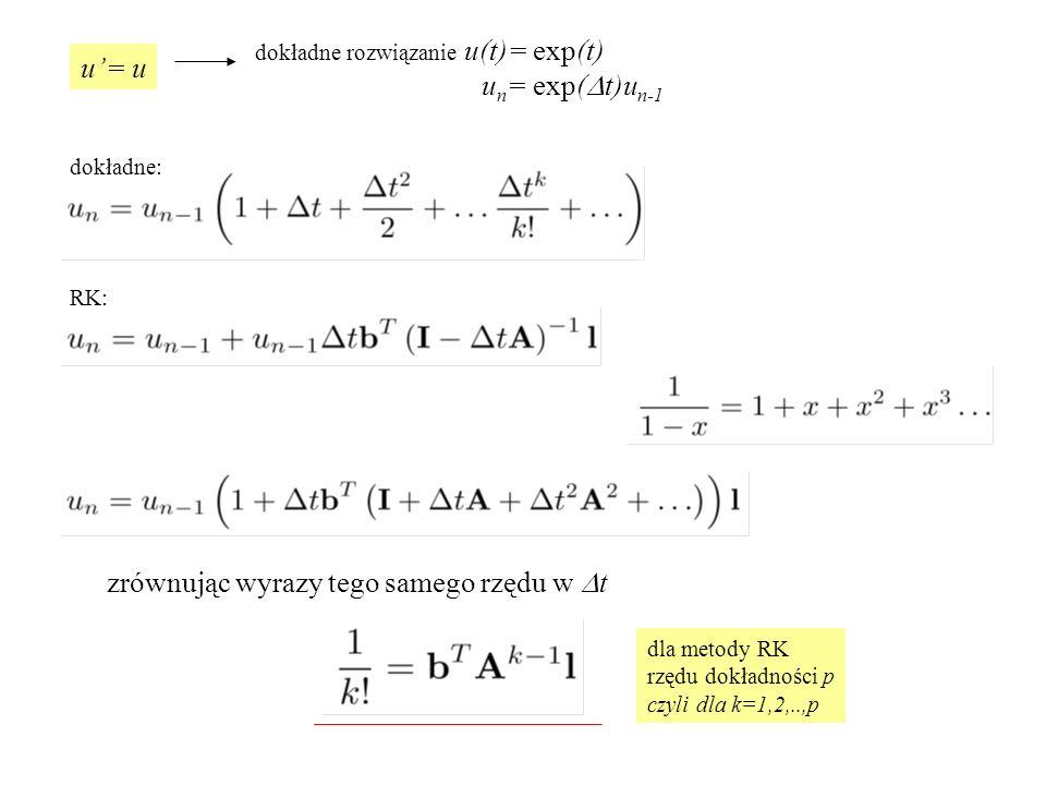 niejawne RK dla układu 2 równań (laboratorium) predyktor dla pojedynczego równania: predyktor dla dwóch równań numer szukanej funkcji nr chwili w zapisie wektorowym: wracamy do formy dla pojedynczego równania U 1 =[U 1 1,U 1 2 ] T na laboratorium - f liniowe więc układ równań liniowych