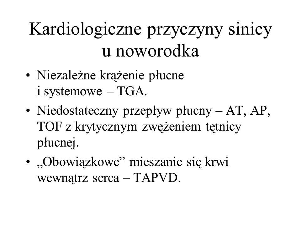Kardiologiczne przyczyny sinicy u noworodka Niezależne krążenie płucne i systemowe – TGA. Niedostateczny przepływ płucny – AT, AP, TOF z krytycznym zw