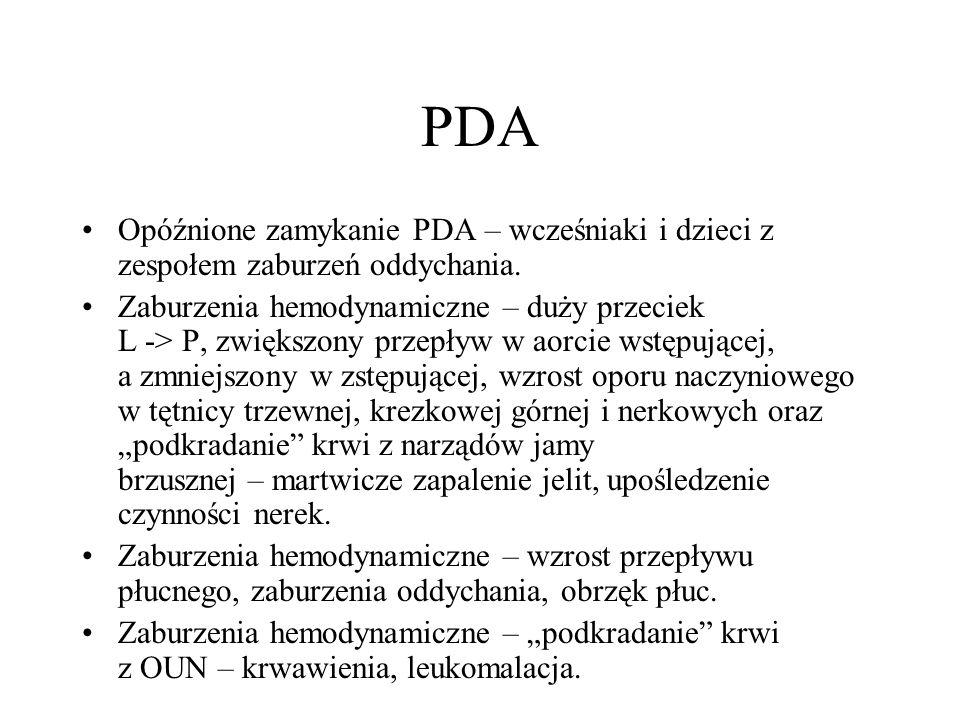 PDA Opóźnione zamykanie PDA – wcześniaki i dzieci z zespołem zaburzeń oddychania. Zaburzenia hemodynamiczne – duży przeciek L -> P, zwiększony przepły