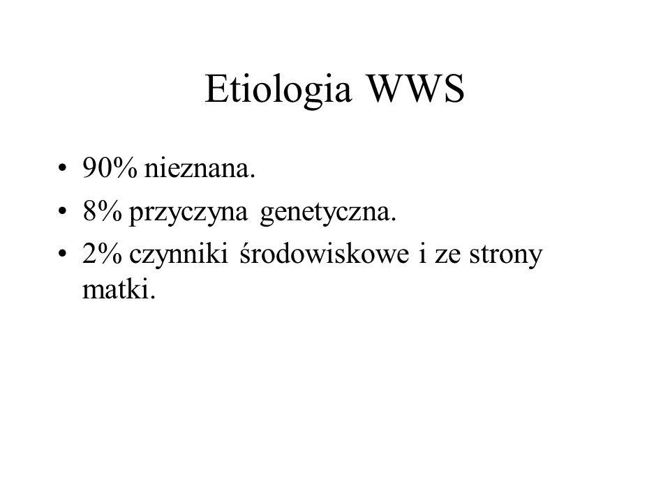Etiologia WWS 90% nieznana. 8% przyczyna genetyczna. 2% czynniki środowiskowe i ze strony matki.
